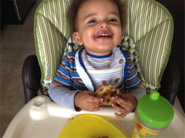 Boy loooves his blueberry pancakes!