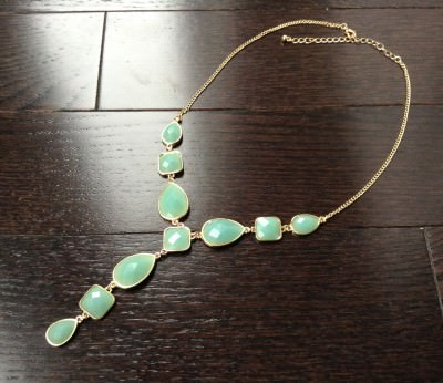 Mint Green Y Necklace