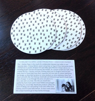 Fox and Anchor Paper - Black Bows Coaster Set