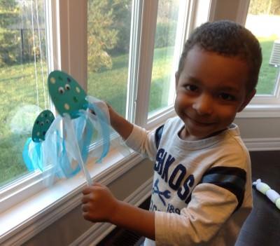 My son enjoying 'My Racing Jellyfish'