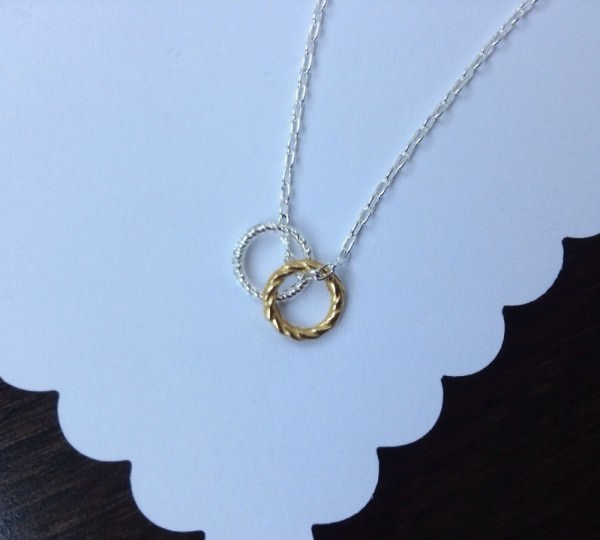 Silver Necklace w/ Gold & Silver Rings