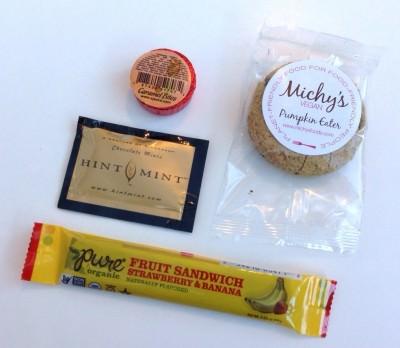 Caramel Bites,Michy's Pumpkin Eater Cookie, Hint Mints, Pure Fruit Sandwich Strawberry & Banana Bar