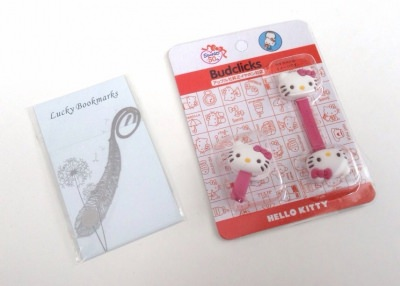 Metal Feathers Shaped Reading Bookmark & Hello Kitty Cable Cord Holder Clip