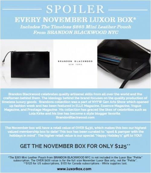 Luxor Box November 2015 Box Spoiler!